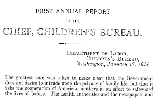 Excerpt from first annual report of the Children's Bureau  which pledges desire not to intrude on the lives of citizens.