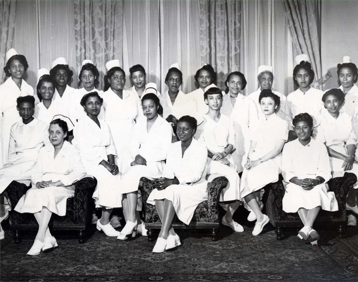 Mercy Hospital Nursing Staff, Ms. Lula Warlick standing, 3rd from right