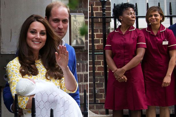 Princess Kate and Prince William made headlines when choosing to use midwives (Pictured right: Arona Ahmed and Jacqui Dunkley Bent)